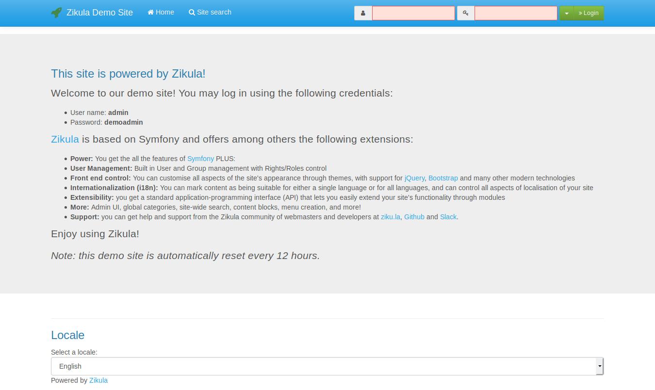 Pagina iniziale di Zikula 2.0